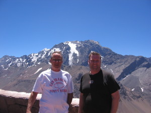 Morgan and Dad at the top of the Chile/Argentina border