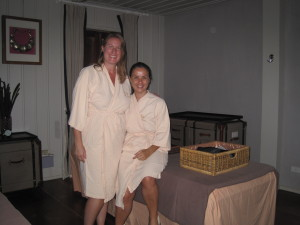 The much more upscale spa with robes, nice tables and air con