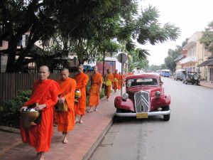 Monks processional past our hotel