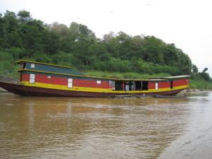 A boat gas station on the Mekong River