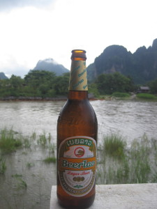 Beer Lao on the Mekong River