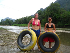 Vanessa and I were about to hop in the Mekong River and see what this tubing was all about