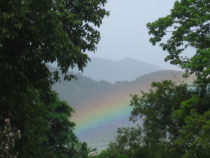 Beautiful rainbow on the Mekong River while Tubing