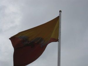 Bhutan's National Flag. One of the few countries that it was hard to find as it doesn't fly everywhere.