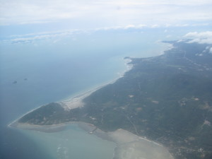 First photo of Ko Samui as we were coming in for what we thought was our only landing.