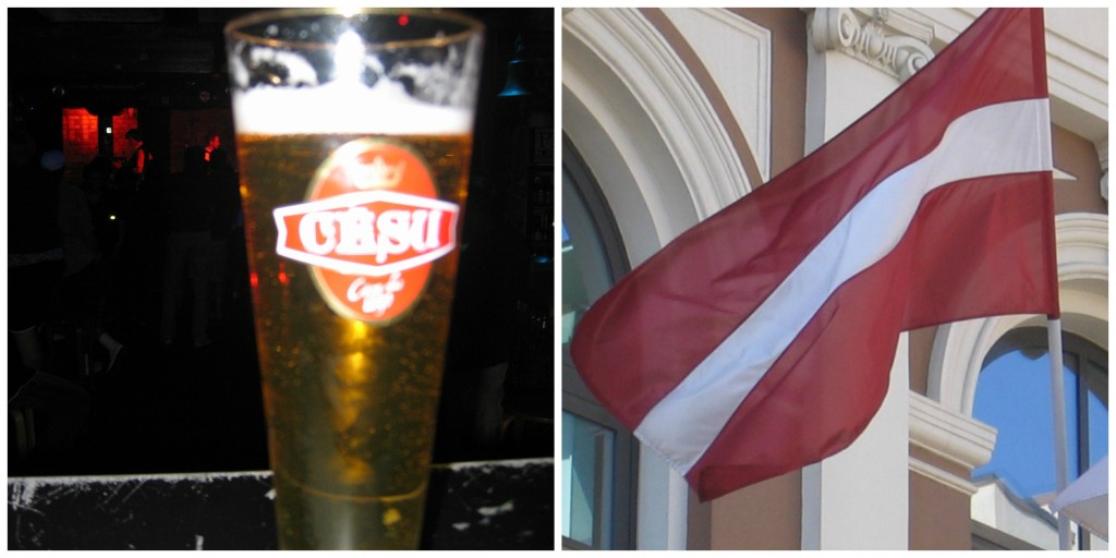 Latvia's Beer and Flag