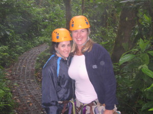 Just about to start the zip line - note my clean pink shirt here...