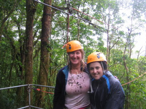 Last zip line - check out all the oil and mud and rain on my pink shirt...that shirt died in Costa Rica!