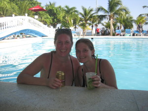 Enjoying a drink after our diving in the Rosario Island.  Super nice pool by the ocean front