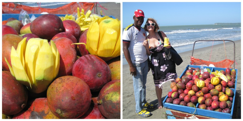 Fresh mangos on the beach in Cartagena.  This was the Bocagrande beach