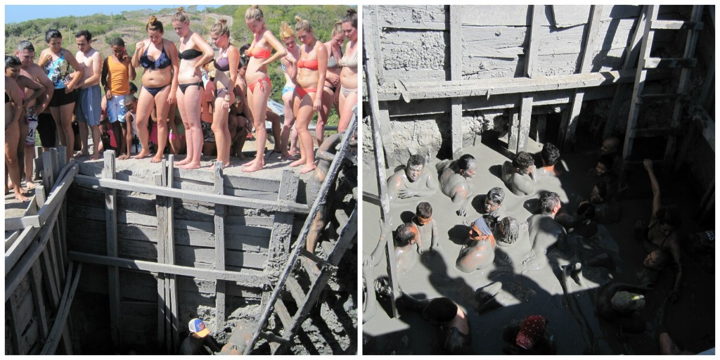 The line up to get into the mud volcano and about 30 people you were floating with at once
