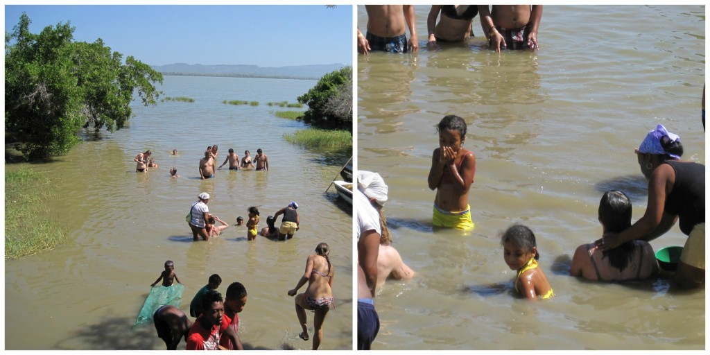 Part of the process was allowing women to wash off the mud down in the lake.