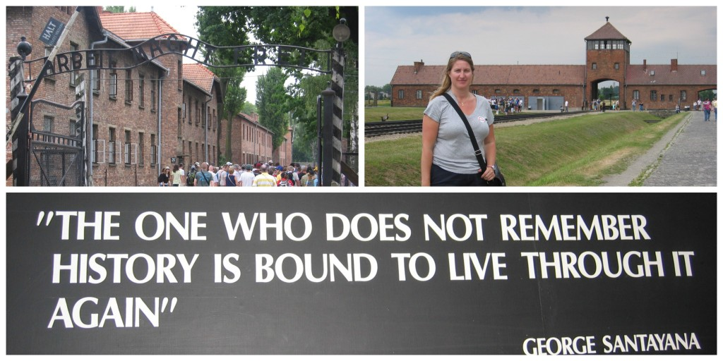 The entry to Auschwitz, the train entry and a memory to never let this happen again