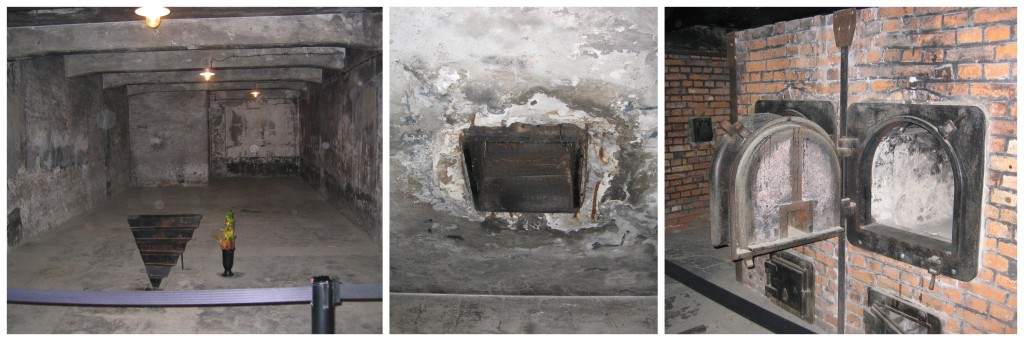 On the left, one of the gas chamber rooms.  The middle is the ceiling where the vents for the Zyklon B (a highly lethal cyanide-based pesticide) was dropped into the chamber, On the right, the furnace used to cremate the bodies.