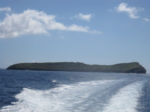 Sailing away from Molikini Crater after scuba diving