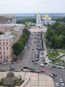 View of Kiev streets from St. Sophia's Cathedral Bell Tower