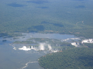 View of the Iguazu Falls  from our flight