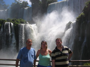Enjoying Iguazu Falls  with Dad and Morgan