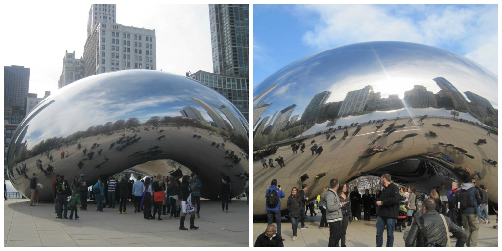 The iconic Chicago Bean - love the one on the right with the skyline reflecting