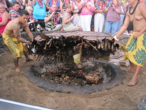 Uncovering the luau pig at Maui's Old Lahaina Luau